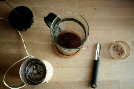 Coffee in french press being prepared
