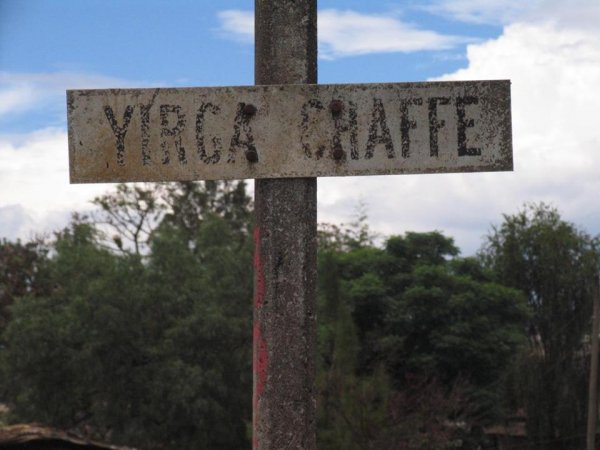 Yirga Chaffe sign on a pole