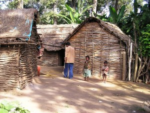 Indian tribal community next to houses