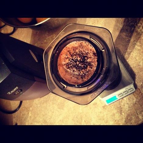 Aeropress coffee being brewed