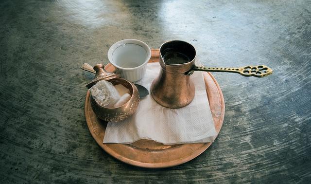 Freshly brewed coffee in a cezve/ibrik