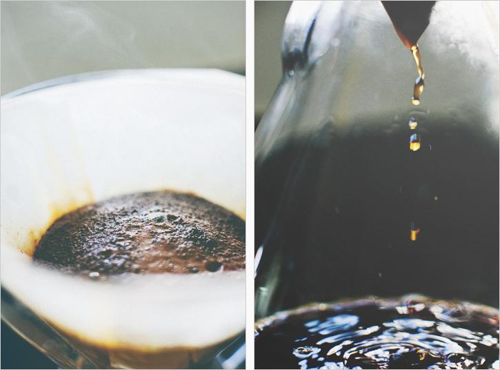 Coffee bloom, coffee dripping