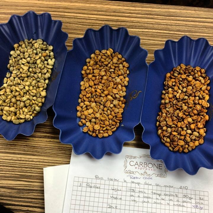Evaluating roast profiles at Carbon Espresso.