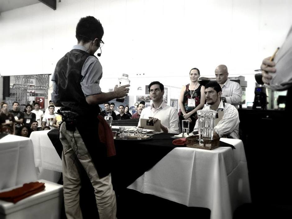 Barista showing his skills to the jury