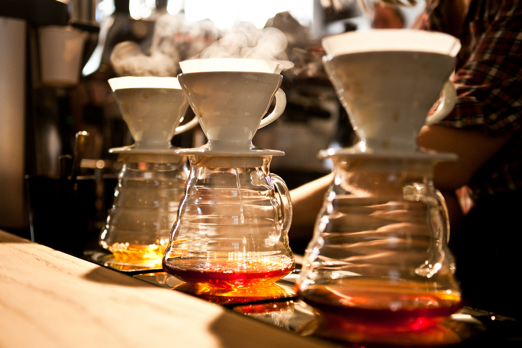 V60 coffees being brewed