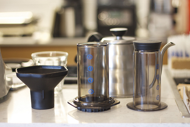 Aeropress coffee brewing equipment