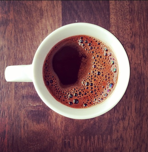 freshly brewed coffee with bubbles