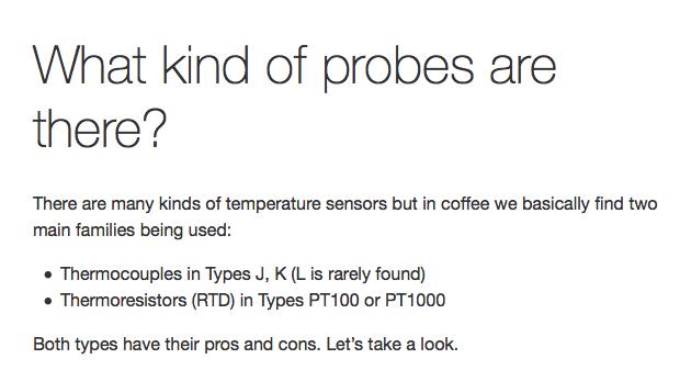 Temperature sensors in coffee