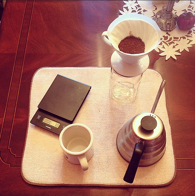Preparation for brewing coffee with a Hario V60